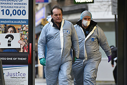 © Licensed to London News Pictures. 07/03/2019. London, UK. Police forensics at the scene at Lanfrey Place in West Kensington, London where a man in his teens has died after being stabbed multiple times. Police were called at 2.14PM today. Photo credit: Guilhem Baker/LNP