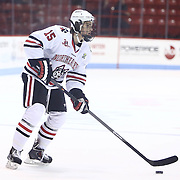 Kevin Roy #15 of the Northeastern Huskies controls the puck during the game at Matthews Arena on January 18, 2014 in Boston, Massachusetts. (Photo by Elan Kawesch)