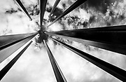 Abstract view of the mast sculptures in the Artivity on the Green, a public art park in downtown Winston-Salem. NC.