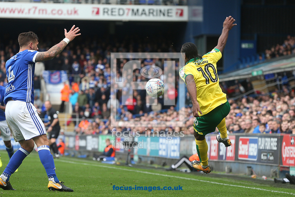 Luke Chambers of Ipswich Town and Cameron Jerome of Norwich in action during the Sky Bet Championship match at Portman Road, Ipswich<br /> Picture by Paul Chesterton/Focus Images Ltd +44 7904 640267<br /> 22/10/2017