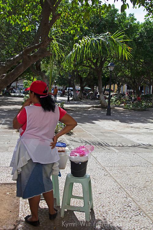 Central America, Nicaragua, Granada. Vendor in Granada Plaza.