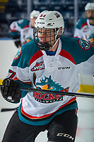 KELOWNA, CANADA - SEPTEMBER 2: Left wing Deegan Mofford #27 of the Kelowna Rockets warms up against the Victoria Royals on September 2, 2017 at Prospera Place in Kelowna, British Columbia, Canada.  (Photo by Marissa Baecker/Shoot the Breeze)  *** Local Caption ***
