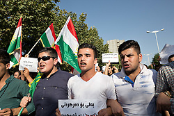 © Licensed to London News Pictures. 07/08/2014. Sulaimaniyah, Iraq. A group of Kurds from the city of Sulaimaniyah in Iraqi-Kurdistan protest to have arabs removed from Kurdish areas.<br /> <br /> With Islamic State fighters starting to move across the Ninewa flood plain from Mosul, tensions are running high across Iraqi-Kurdistan. Photo credit: Matt Cetti-Roberts/LNP