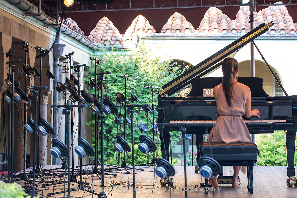Vicky Chow, Bang on a Can All-Stars acclaimed pianist,  performing Surface Image, composer and sound artist Tristan Perich&rsquo;s masterwork for piano and electronics, at the Sonic Delights Festival celebrating the In the  Garden of Sonic Delights sound art exhibition at Caramoor in Katonah New York on July 20, 2014. <br /> (photo by Gabe Palacio)