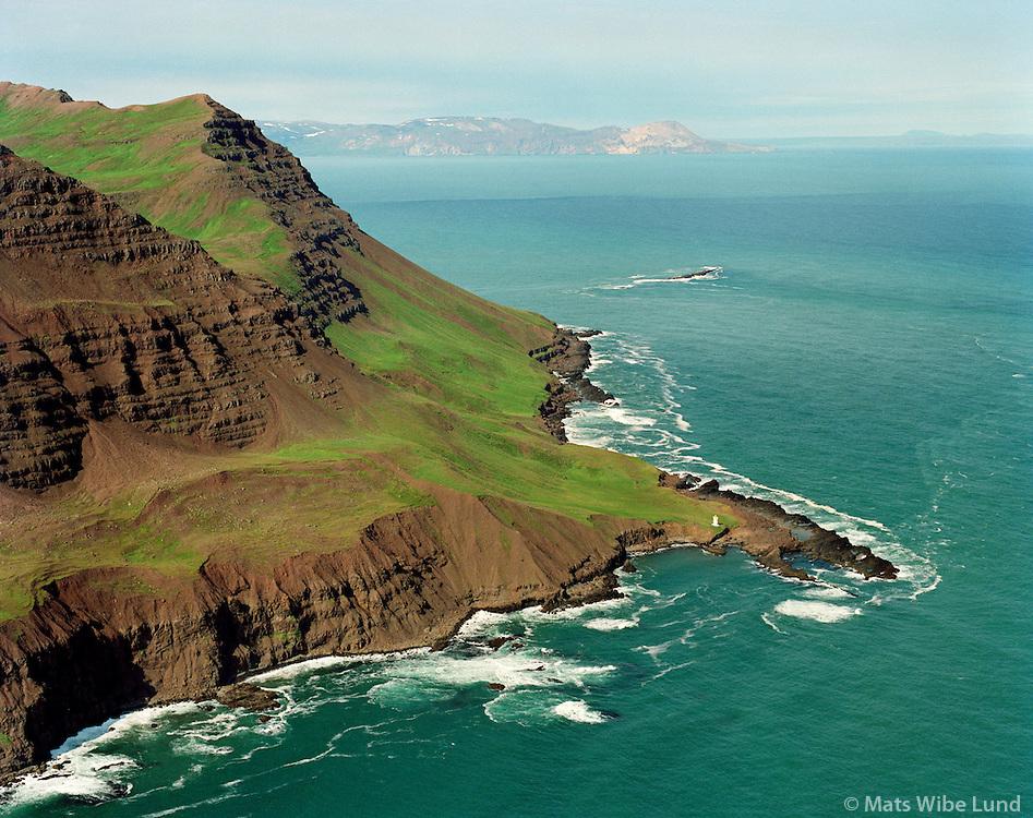 K&ouml;gurviti er &iacute; reynd &aacute; Brimnes &aacute; tangi austan vi&eth; Grasdal nor&eth;an vi&eth; Skjaldarfjall, - en ekki &thorn;ar sem heitir K&ouml;gur. Borgarfjar&eth;arhreppur eystri /<br /> Kogur lighthouse is in fact at the Brimnes slightly east of Kogur, Borgarfjardarhreppur.