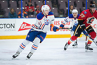 PENTICTON, CANADA - SEPTEMBER 17: Tomas Soustal #41 of Edmonton Oilers skates against the Calgary Flames on September 17, 2016 at the South Okanagan Event Centre in Penticton, British Columbia, Canada.  (Photo by Marissa Baecker/Shoot the Breeze)  *** Local Caption *** Tomas Soustal;
