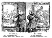 """For Neutrals. """"Why do we torpedo passenger ships? Because we are being starved by the infamous English."""" For Natives. """"Who says we are in distress? Look what our splendid organisation is doing!"""" (WW1 cartoon showing Wilhelm II's propaganda at home portrayng Germans that they are well fed and happy and abroad blaming the English for starving the Germans)"""