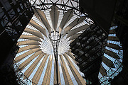 Looking up at the glass roof of the Sony Center, designed by Helmut Jahn, on Potsdamer Platz, Berlin, Germany. The building complex opened in 2000 and is home to Sony's European headquarters. Picture by Manuel Cohen