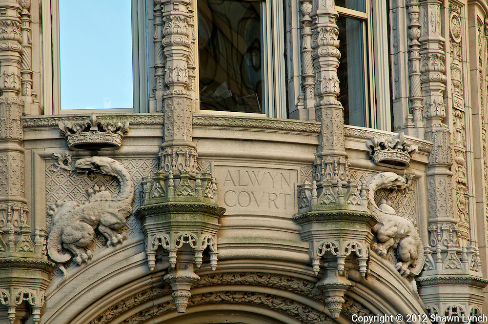 Alwyn Court, located at 182 West 58th St in New York, NY, is a 12 story apartment building constructed in the French Renaissance style with many detailed features made of terra cotta.  It is a designated New York Landmark.