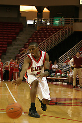 19 November 2005: Khalif Ford uses a quick bounce pass to bring in the ball. In a non-conference race that came down to a photo finish, the Illinois State Redbirds slipped past the Indianapolis University Greyhounds 54-50 at Redbird Arena in Normal Illinois