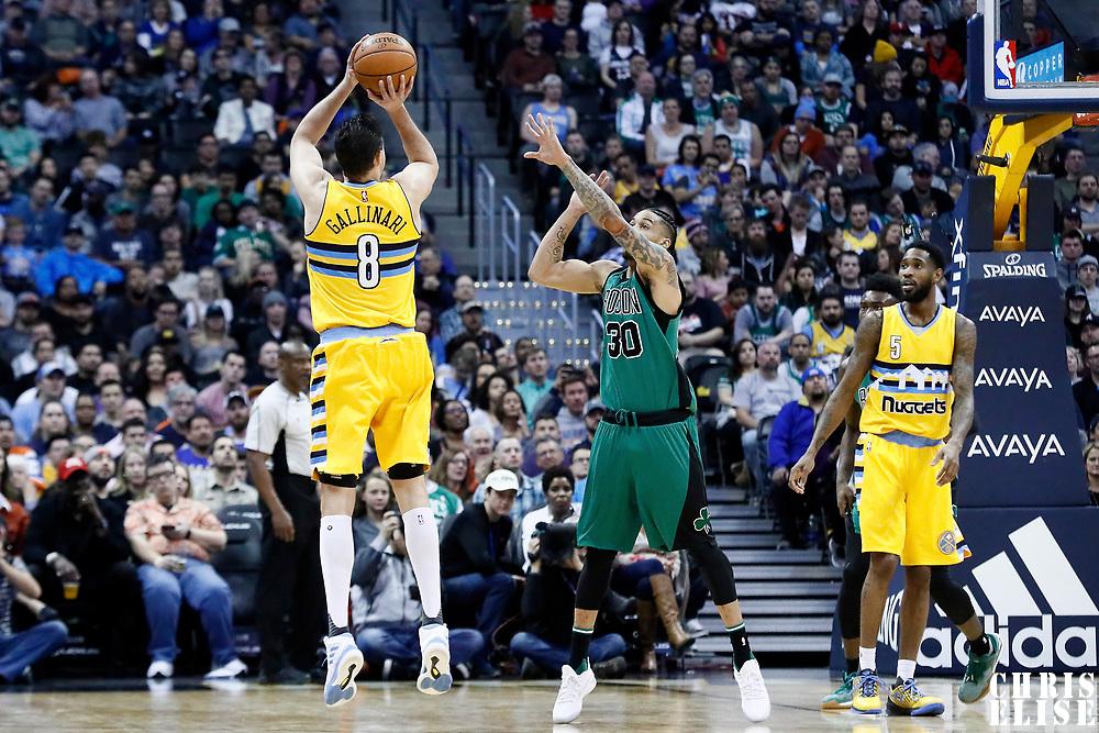 10 March 2017: Denver Nuggets forward Danilo Gallinari (8) takes a jump shot over Boston Celtics forward Gerald Green (30) during the Denver Nuggets 119-99 victory over the Boston Celtics, at the Pepsi Center, Denver, Colorado, USA.
