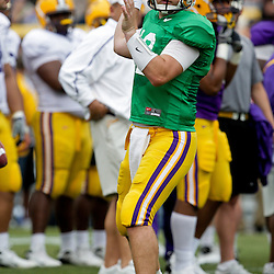 18 April 2009: LSU quarterback Jarrett Lee (12) throws the ball during the 2009 LSU spring football game at Tiger Stadium in Baton Rouge, LA.