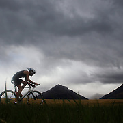 A competitor in action during the Active Q T Ultimate Tri Series Jack's Point Triathlon, Jack's Point,  Queenstown, Otago, New Zealand. 14th January 2012. Photo Tim Clayton
