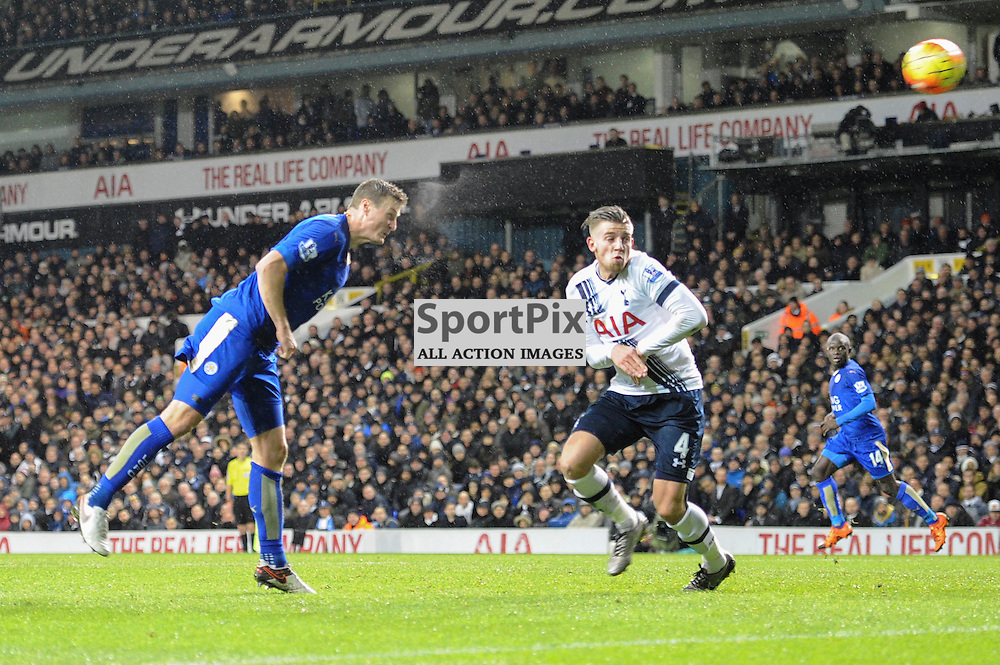 Leciesters Robert Huth scores the opening goal during the Tottenham v Leciester City match in the Barclays Premier League on the 13th January 2016.