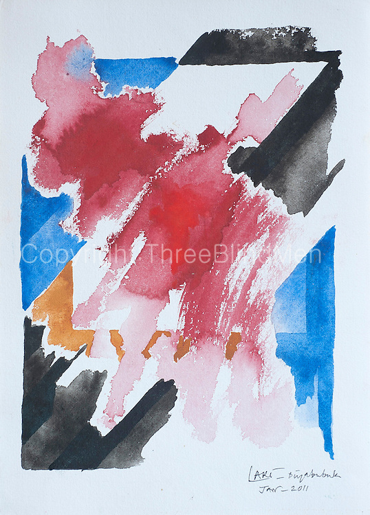 "Ex April 2011. Water Colour on paper. 14"" x 10""  No:4"