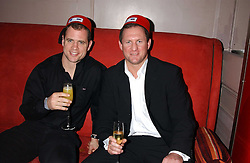 Left to right, England rugby internations KYRAN BRACKEN and RICHARD HILL at a party to celebrate the recent merger of Chelsea Mortgage Management with Cobalt Capital - A Night in Marrakesh held at Raffles, nightclub, Kings Road, London on 1st December 2005.<br />