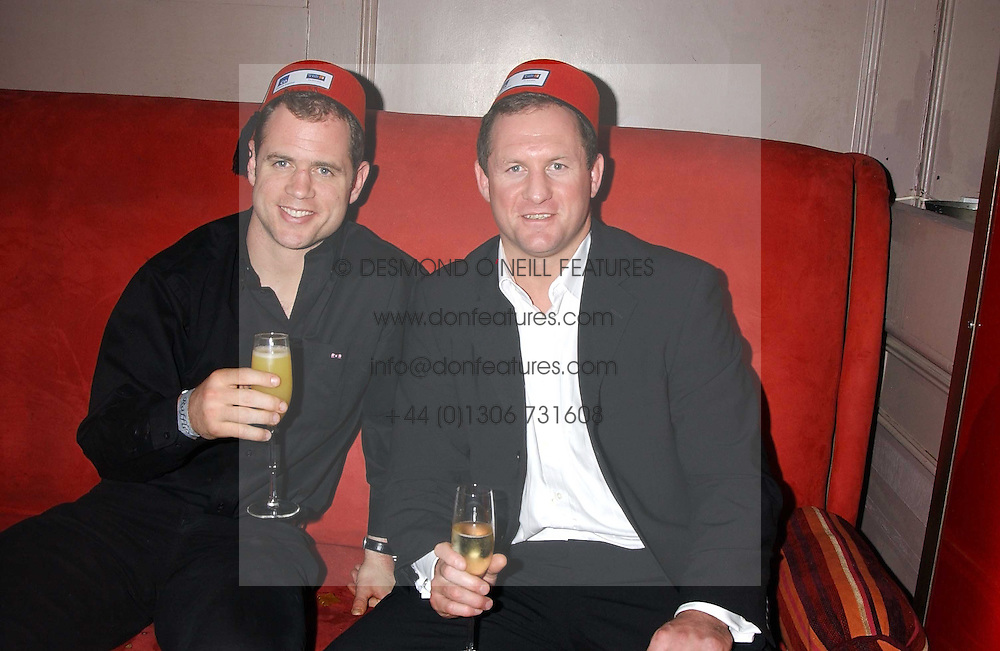 Left to right, England rugby internations KYRAN BRACKEN and RICHARD HILL at a party to celebrate the recent merger of Chelsea Mortgage Management with Cobalt Capital - A Night in Marrakesh held at Raffles, nightclub, Kings Road, London on 1st December 2005.<br /><br />NON EXCLUSIVE - WORLD RIGHTS