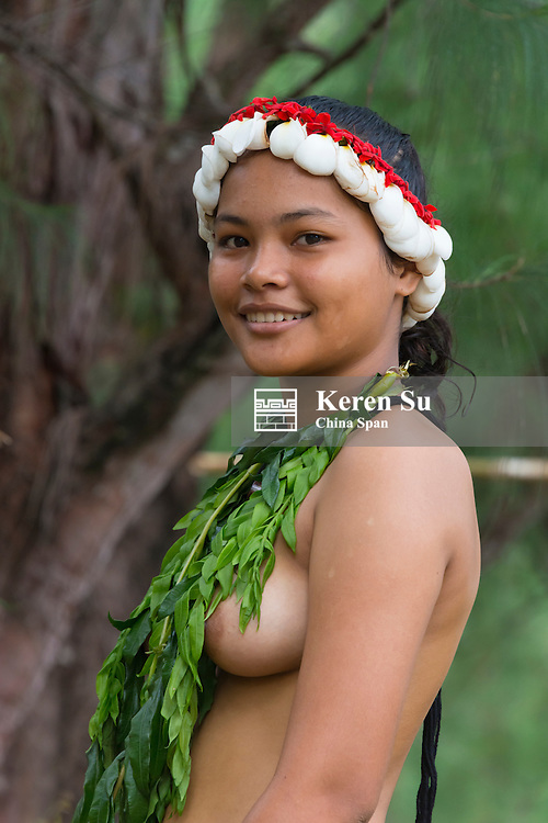 Yapese girl in traditional clothing at Yap Day Festival, Yap Island, Federated States of Micronesia