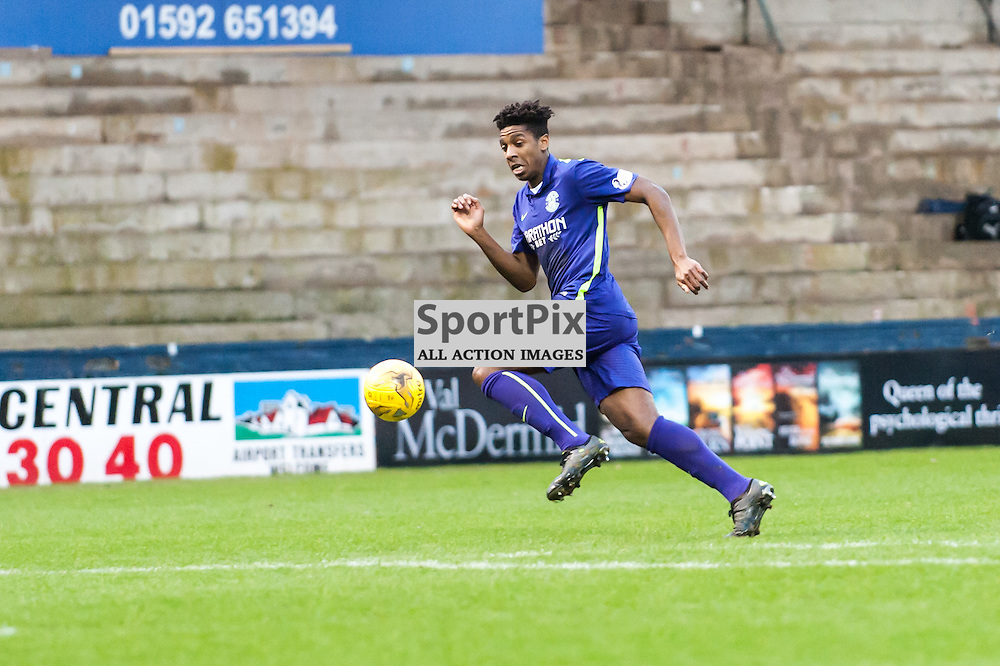 Hibernian's Dominique Malonga chases a ball over the top. Action from the Raith Rovers v Hibernian game in the 3rd Round of the Scottisg Cup at  in Kirkcaldy, 9 January 2016. (c) Paul J Roberts / Sportpix.org.uk