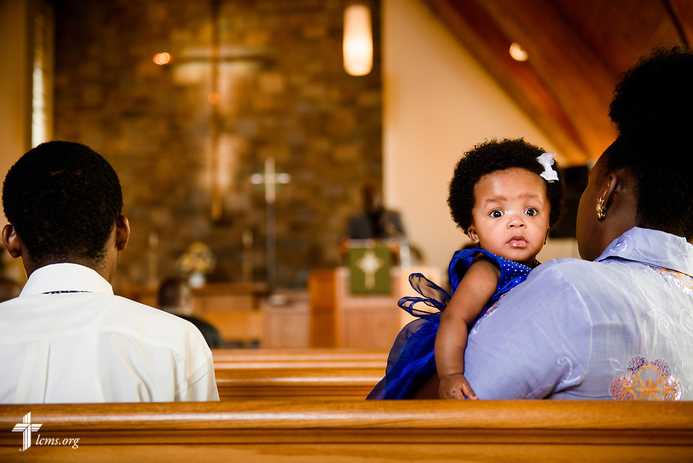 Families including Whitney Jarwee and her mother Citta Jarwee worship at Lamb of God Lutheran Church, housed in Ascension Lutheran Church, Landover Hills, Md., on Sunday, Aug. 6, 2017. LCMS Communications/Erik M. Lunsford