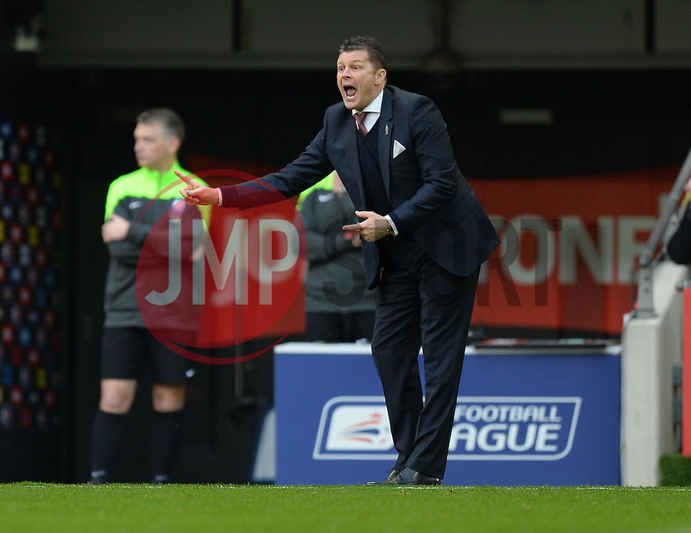 Bristol City manager, Steve Cotterill gives his players directions. - Photo mandatory by-line: Alex James/JMP - Mobile: 07966 386802 - 22/03/2015 - SPORT - Football - London - Wembley Stadium - Bristol City v Walsall - Johnstone Paint Trophy Final
