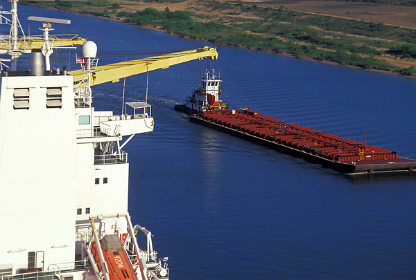 Aerial of a barge on the Port of Houston waterway