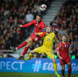 March 22, 2019 - Na - Lisbon, 03/22/2019 - The Portuguese Football Team received this afternoon their Ukrainian counterpart at the Estádio da Luz in Lisbon, in the Group B game, in the qualifying round for the 2020 European Championship. Cristiano Ronaldo; Oleksandr Karavaev  (Credit Image: © Atlantico Press via ZUMA Wire)