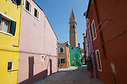 Burano island. Colorful houses and the tilted campanile.