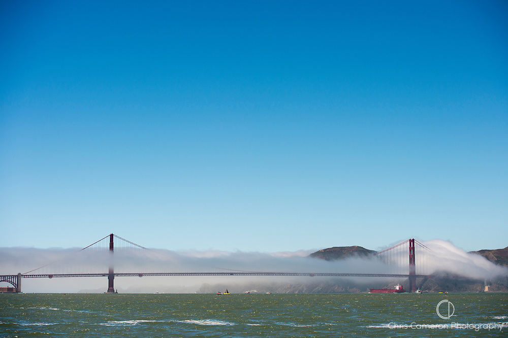 Fog bank over Golden Gate bridge, San Francisco. California, USA.