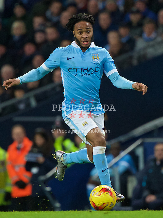 MANCHESTER, ENGLAND - Wednesday, January 27, 2016: Manchester City's Raheem Sterling in action against Everton during the Football League Cup Semi-Final 2nd Leg match at the City of Manchester Stadium. (Pic by David Rawcliffe/Propaganda)