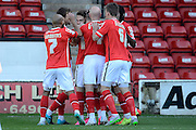 Walsall striker Tom Bradshaw celebrates scoring first goal during the Sky Bet League 1 match between Walsall and Crewe Alexandra at the Banks's Stadium, Walsall, England on 26 September 2015. Photo by Alan Franklin.