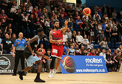 Lewis Champion of Bristol Flyers passes the ball - Photo mandatory by-line: Arron Gent/JMP - 28/04/2019 - BASKETBALL - Surrey Sports Park - Guildford, England - Surrey Scorchers v Bristol Flyers - British Basketball League Championship