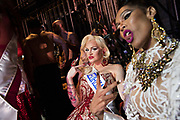 LOS ANGELES, CA - OCTOBER 22, 2016:  <br /> <br /> Gia Banks (New Mexico), right, and Kylie Love (Georgia) strike a pose backstage, before the winners are announced at theTransnation Queen USA 2016 pageant, a transgender beauty pageant held at The Theater at The Ace Hotel in downtown Los Angeles.<br /> <br /> (Melissa Lyttle for The Guardian)