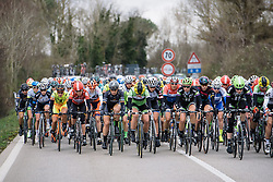 Peloton spreads across the road with no one team setting the pace - 2016 Strade Bianche - Elite Women, a 121km road race from Siena to Piazza del Campo on March 5, 2016 in Tuscany, Italy.