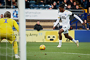 Peterborough United forward Ivan Toney (17) gets in a shot during the EFL Sky Bet League 1 match between Wycombe Wanderers and Peterborough United at Adams Park, High Wycombe, England on 3 November 2018.