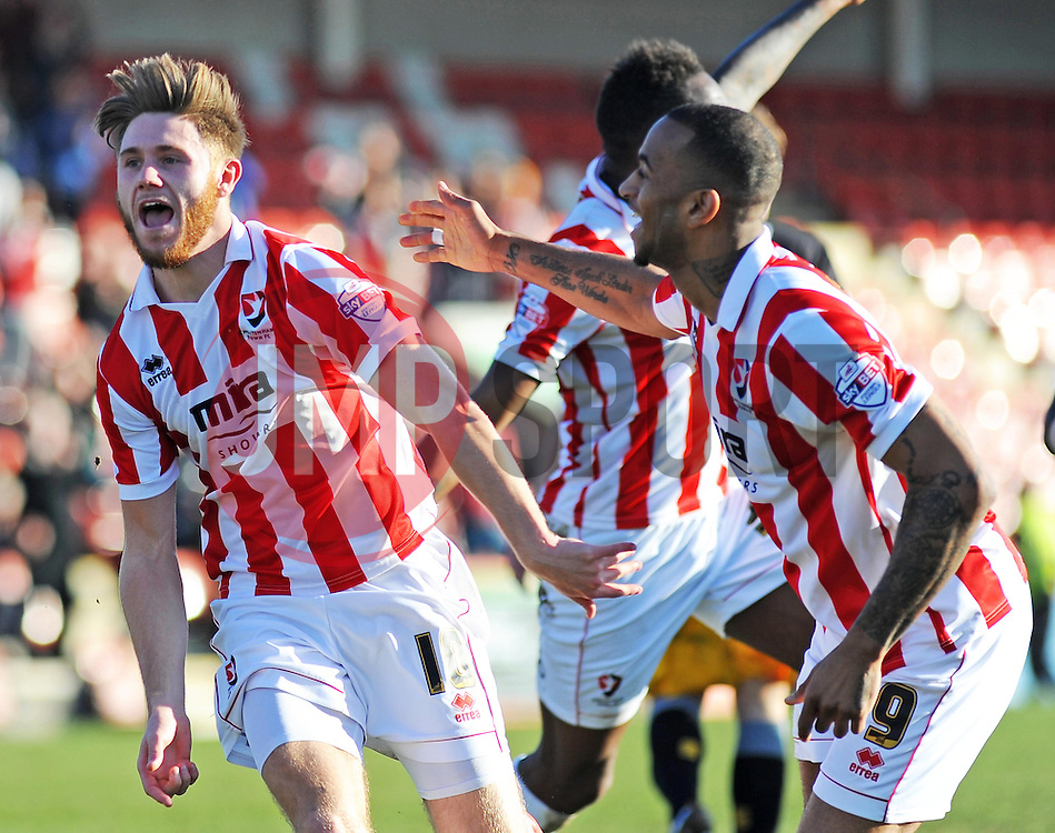 Cheltenham Town's Wes Burns celebrates his goal with team mates - Photo mandatory by-line: Nizaam Jones  - Mobile: 07966 386802 - 07/03/2015 - SPORT - Football - Cheltenham - Whaddon Road- Cheltenham Town v Mansfield - Sky Bet League Two