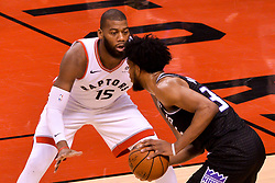 January 22, 2019 - Toronto, Ontario, Canada - Greg Monroe #15 of the Toronto Raptors against Wenyen Gabriel #32 of the Sacramento Kings during the Toronto Raptors vs Sacramento Kings  NBA regular season game at Scotiabank Arena on January 22, 2018 in Toronto, Canada (Toronto Raptors win 120-105) (Credit Image: © Anatoliy Cherkasov/NurPhoto via ZUMA Press)