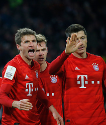 05.02.2020, Allianz Arena, Muenchen, GER, DFB Pokal, FC Bayern Muenchen vs TSG 1899 Hoffenheim, Achtelfinale, im Bild Thomas Müller, Joshua Kimmich und Robert Lewandowski // during the German Pokal the round of last sixteen match between FC Bayern Muenchen and TSG 1899 Hoffenheim at the Allianz Arena in Muenchen, Germany on 2020/02/05. EXPA Pictures © 2020, PhotoCredit: EXPA/ SM<br /> <br /> *****ATTENTION - OUT of GER*****