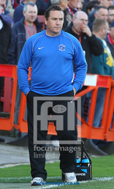 Picture by Paul Terry/Focus Images Ltd +44 7545 642257.06/10/2012.Micky Mellon, manager of Fleetwood Town during the npower League 2 match at the Abbey Business Stadium, Cheltenham.