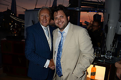 The Johnnie Walker Blue Label and David Gandy Drinks Reception aboard John Walker & Sons Voyager, St.Georges Stairs Tier, Butler's Wharf Pier, London, UK on 16th July 2013.<br /> Picture Shows:-Harold Tillman, Harry Cole.