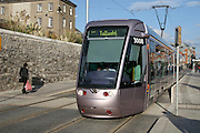 "Luas Light Rail Tram System, Dublin outside National Museum, Benburb St. Dublin 7. Luas is Irish for ""speed"".."
