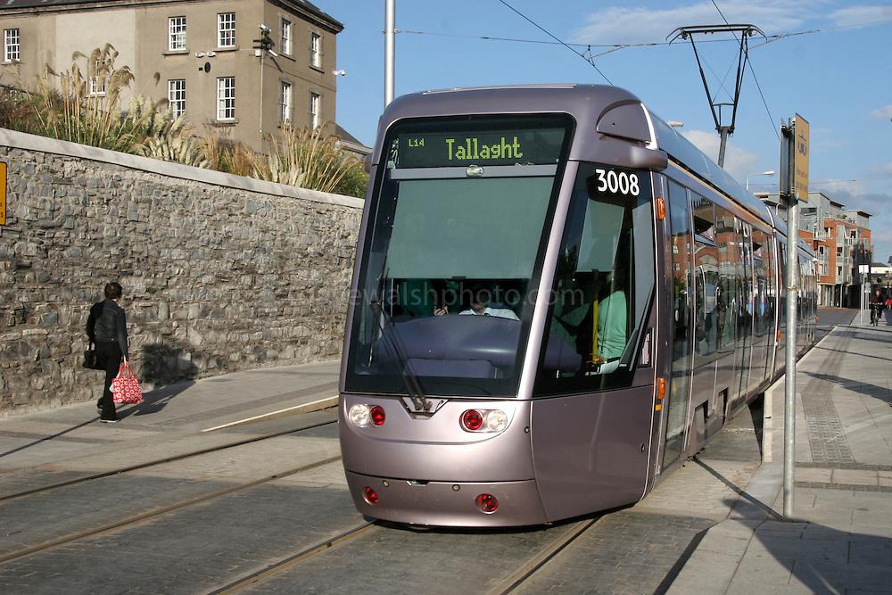 "Luas Light Rail Tram System, Dublin outside National Museum, Benburb St. Dublin 7. Luas is Irish for ""speed"".."