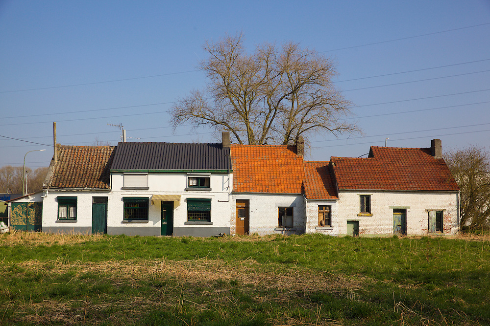 Traditional house in Cuasmes which inspired Vincent Van Gogh's famous drawing 'The Zandmennik House'. These house are very near where the artist lived in Cuasmes, near Mons, in the Belgian province of Hainaut.
