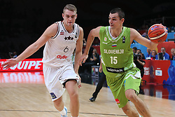Rolands Freimanis of Latvia vs Jure Balazic of Slovenia during basketball match between Latvia and Slovenia at Day 8 in Round of 16 of FIBA Europe Eurobasket 2015, on September 12, 2015, in LOSC Lile stadium, Croatia. Photo by Marko Metlas / MN PRESS PHOTO / SPORTIDA