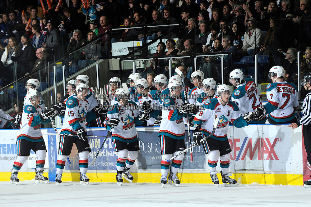 KELOWNA, CANADA, FEBRUARY 11: The Kelowna Rockets celebrate a goal as the Kamloops Blazers visit the Kelowna Rockets on February 11, 2012 at Prospera Place in Kelowna, British Columbia, Canada (Photo by Marissa Baecker/Shoot the Breeze) *** Local Caption ***