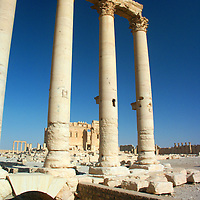 Palmyra, Syria was settled as a caravan stop for travelers crossing the Syrian Desert in the early second millennium BC.  Today the site has been subject to wide scale looting and has been damaged due to clashes from the Syrian Civil War.
