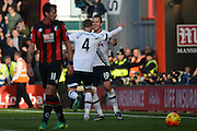 Tottenham Hotspur striker Harry Kane celebrates scoring Tottenham Hotspur's fifth goal with Tottenham Hotspur defender Toby Alderweireld during the Barclays Premier League match between Bournemouth and Tottenham Hotspur at the Goldsands Stadium, Bournemouth, England on 25 October 2015. Photo by Mark Davies.