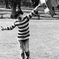 Dan Turell with a kite, Danish author (1946- 1993), affectionately nicknamed &quot;Onkel Danny&quot; (Uncle Danny). A popular Danish writer with notable influence on Danish literature<br /> Picture by Jan Jorgensen/Scanpix/Writer Pictures<br /> <br /> WORLD RIGHTS - DIRECT SALES ONLY - NO AGENCY