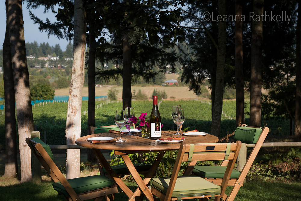 Symphony Vineyard in Saanich, BC creates wine from locally grown grapes and has a beautiful terraced grass picnic area overlooking the family-owned vineyard.