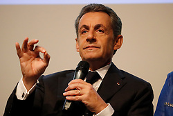 Former French President and candidate for the center-right presidential primaries, Nicolas Sarkozy participates in a debate hosted by the French Building Federation (FFB) focussed on the concerns of business heads and craftsmen in the building industry, in Paris, France on October 25, 2016. Photo by Henri Szwarc/ABACAPRESS.COM